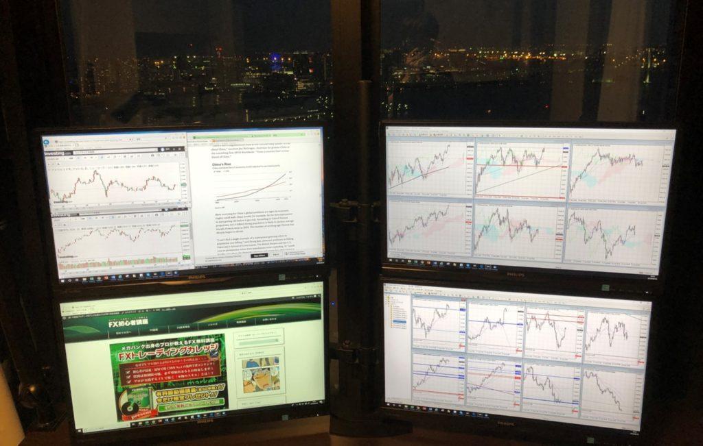 複数のPC画面でMT4を使用している例