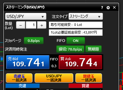 DMM FXの成行き注文の画面
